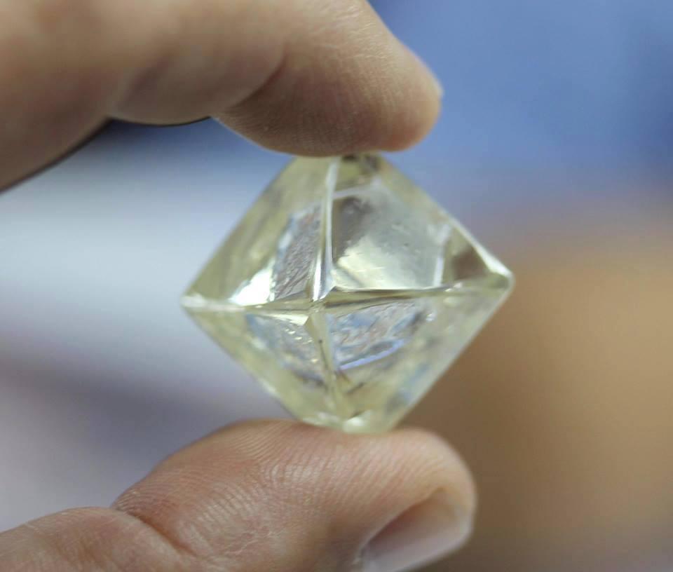 Scott van Iperen - Showing a 57 Carat Natural Diamond Rough during a buying trip to Sierra Leone 2015 Octahedron Type IIA